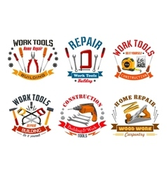 Repair work tools icons set vector image