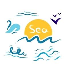 Set the wave sea gulls vector image