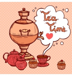 Tea Background With Samovar vector image