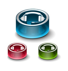 3d glossy headset web icon vector image