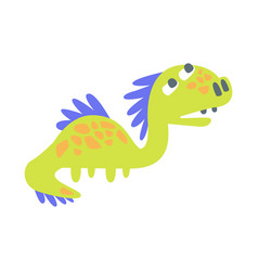 cute funny green dinosaur prehistoric animal vector image vector image