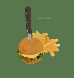 hamburger with french fries cheese burger vector image vector image