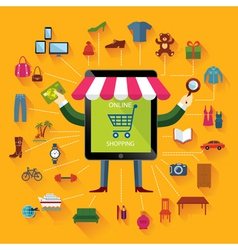 Online shopping and business conceptual backgroun vector