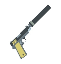 Pistol with silencer flat icon vector image