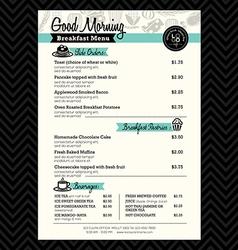 Restaurant Breakfast menu design Template layout vector image vector image