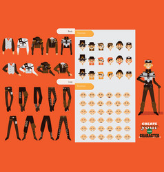 set collection for creation male steampunk vector image vector image