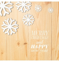 Wood board with white snow and stars vector