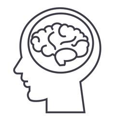brain in headbrainstorm in mind line icon vector image