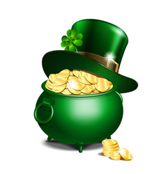 leprechaun hat and pot of gold vector image vector image
