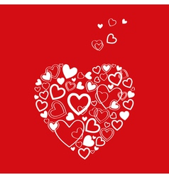 red Valentines Day Card with hearts vector image vector image