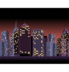 Seamless urban landscape with skyscrapers in night vector image vector image