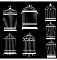 Silhouette of a decorative bird cages set vector image