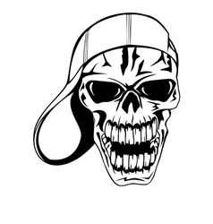 skull in baseball cap vector image vector image