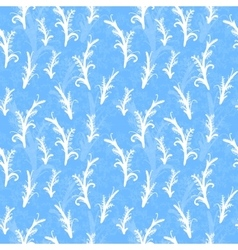 White plant silhouettes on blue seamless pattern vector image vector image