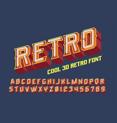 3d vintage letters with neon lights vector