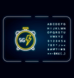 5g stopwatch neon light icon high performance low vector