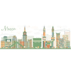 Abstract Mecca Skyline with Color Landmarks vector