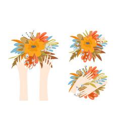 artistic flowers gardening concept woman hands vector image
