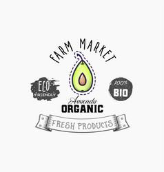 Avocado bio sticker and eco products web vector