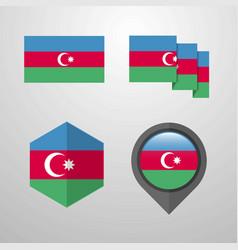 azerbaijan flag design set vector image