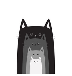 Black gray cat head cats in a row different size vector