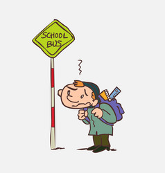 Boy waiting for the school bus vector