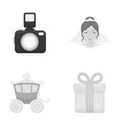 Bride photographing gift wedding car wedding vector