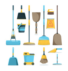 broom and mops hygiene room housework supply vector image