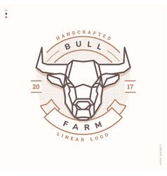 Bull farm linear logo vector