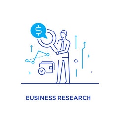 Businessman with magnifier looking for money line vector
