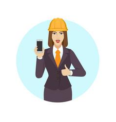 Businesswoman in construction helmet holding a vector