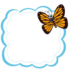 butterfly on note template vector image