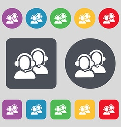 Call center icon sign A set of 12 colored buttons vector