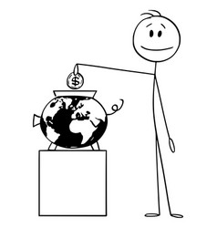 cartoon man or businessman putting coin vector image