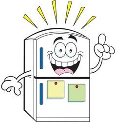 Cartoon refrigerator with an idea vector image