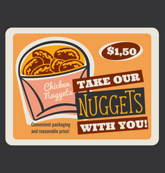 Chicken nuggets retro card of fast food restaurant vector