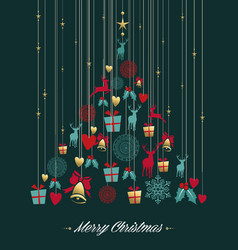 christmas pine tree gold decoration greeting card vector image