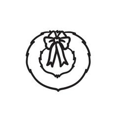 christmas wreath sketch icon vector image