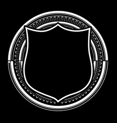 Circle pattern black and shield amp white vector