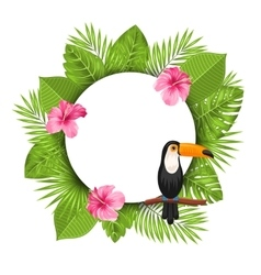 Clean Card with Pink Roses Mallow Toucan Bird vector image