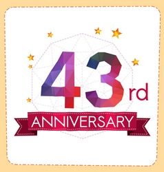 Colorful polygonal anniversary logo 2 043 vector