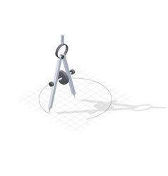 Compass drawing a circle detailed isometric icon vector