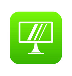 Computer monitor icon digital green vector