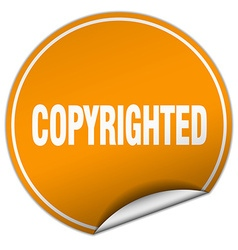 Copyrighted round orange sticker isolated on white vector