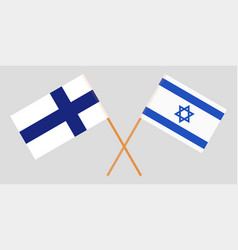 Crossed flags israel and finland vector
