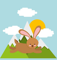 Cute animal over landscape vector