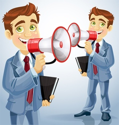 Cute businessman speaks in megaphone vector image