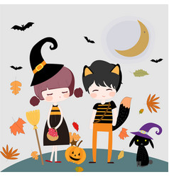 cute character witch and happy halloween vector image