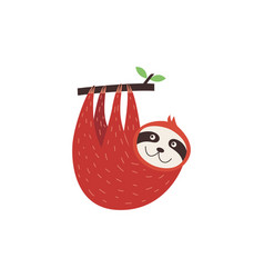 Cute sloth hanging upside down from a tree vector