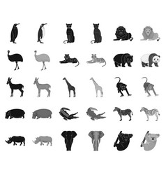 Different animals blackmonochrome icons in set vector
